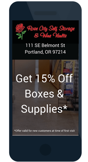 Coupon to save 15% off boxes and moving supplies at Rose City Self Storage & Wine Vaults in Portland, OR